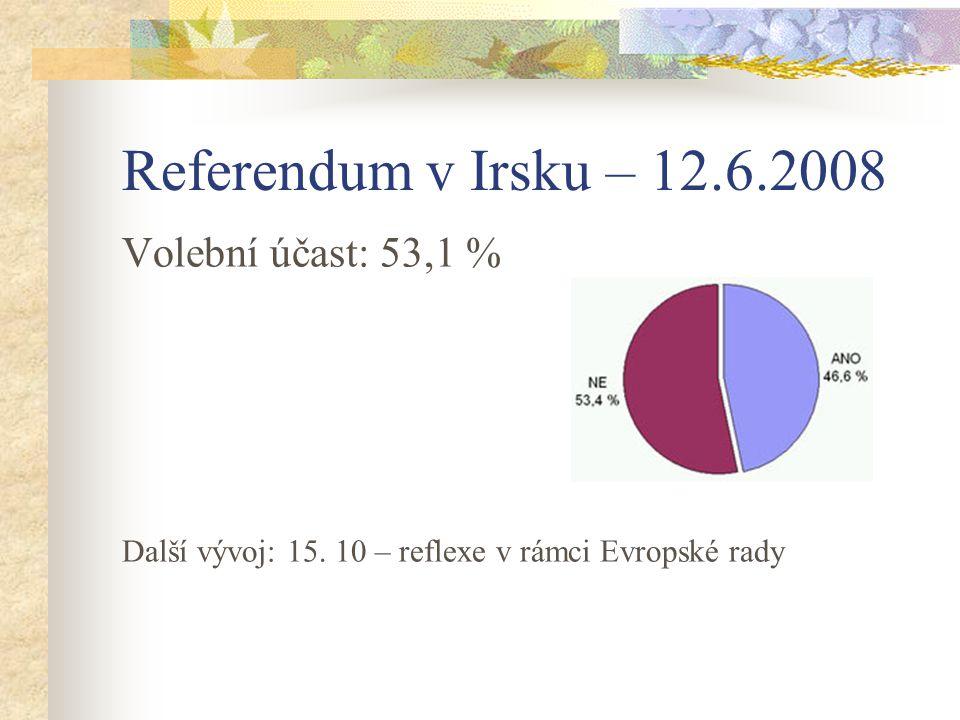 Referendum v Irsku – 12.6.2008 Volební účast: 53,1 % Další vývoj: 15. 10 – reflexe v rámci Evropské rady