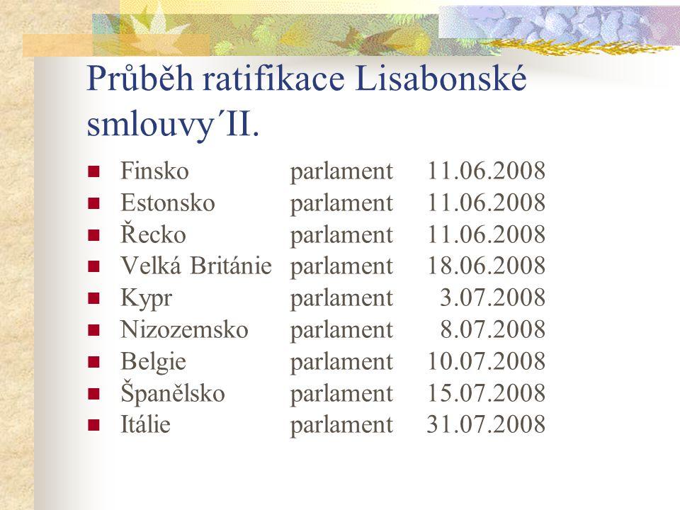 Průběh ratifikace Lisabonské smlouvy´II.  Finsko parlament11.06.2008  Estonsko parlament11.06.2008  Řeckoparlament11.06.2008  Velká Británie parla