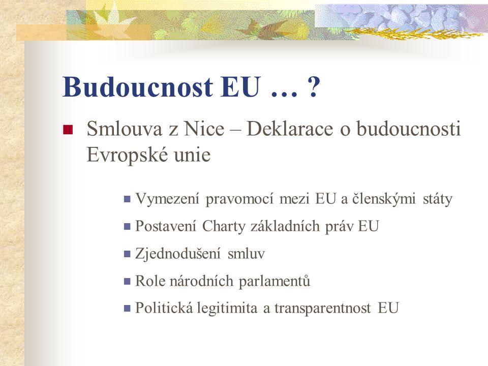Budoucnost EU … ?  Smlouva z Nice – Deklarace o budoucnosti Evropské unie  Vymezení pravomocí mezi EU a členskými státy  Postavení Charty základníc