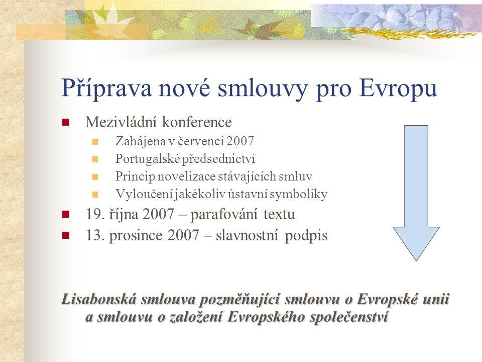 Příprava nové smlouvy pro Evropu  Mezivládní konference  Zahájena v červenci 2007  Portugalské předsednictví  Princip novelizace stávajících smluv