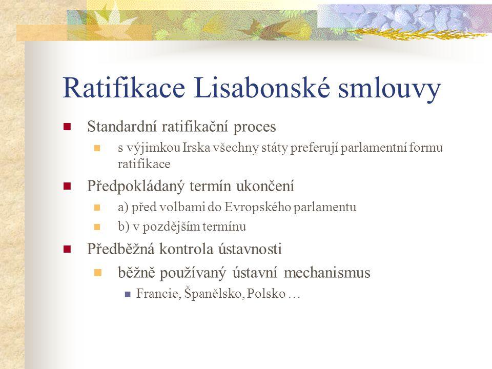 Ratifikace Lisabonské smlouvy  Standardní ratifikační proces  s výjimkou Irska všechny státy preferují parlamentní formu ratifikace  Předpokládaný