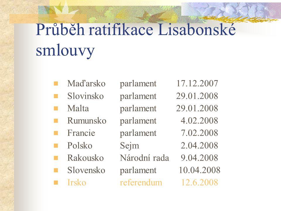 Průběh ratifikace Lisabonské smlouvy  Maďarsko parlament 17.12.2007  Slovinsko parlament 29.01.2008  Malta parlament 29.01.2008  Rumunsko parlamen