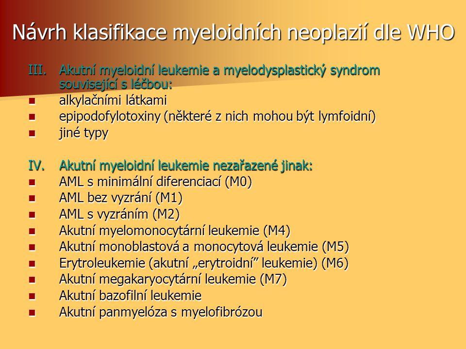 Návrh klasifikace myeloidních neoplazií dle WHO III.Akutní myeloidní leukemie a myelodysplastický syndrom související s léčbou:  alkylačními látkami