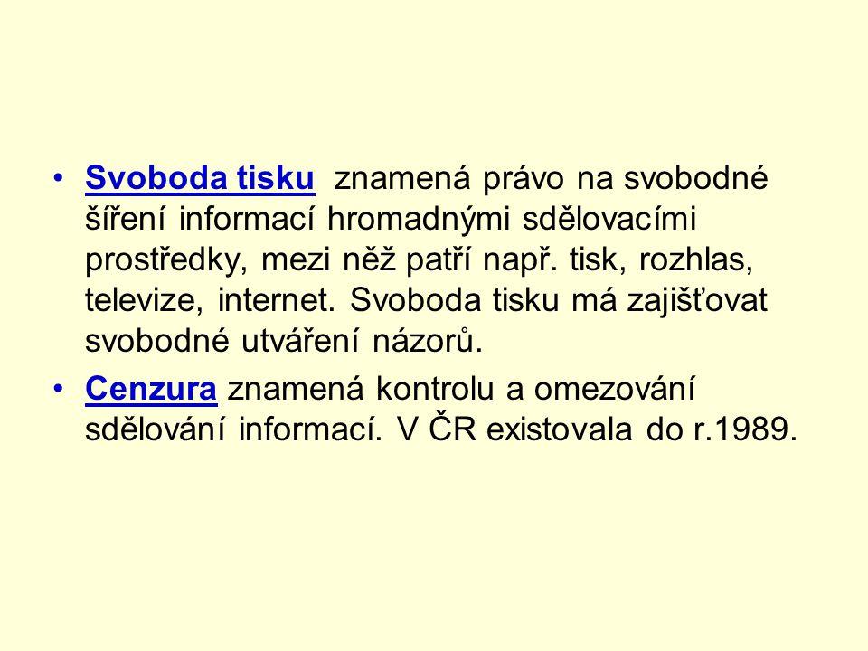 •Svoboda tisku znamená právo na svobodné šíření informací hromadnými sdělovacími prostředky, mezi něž patří např.