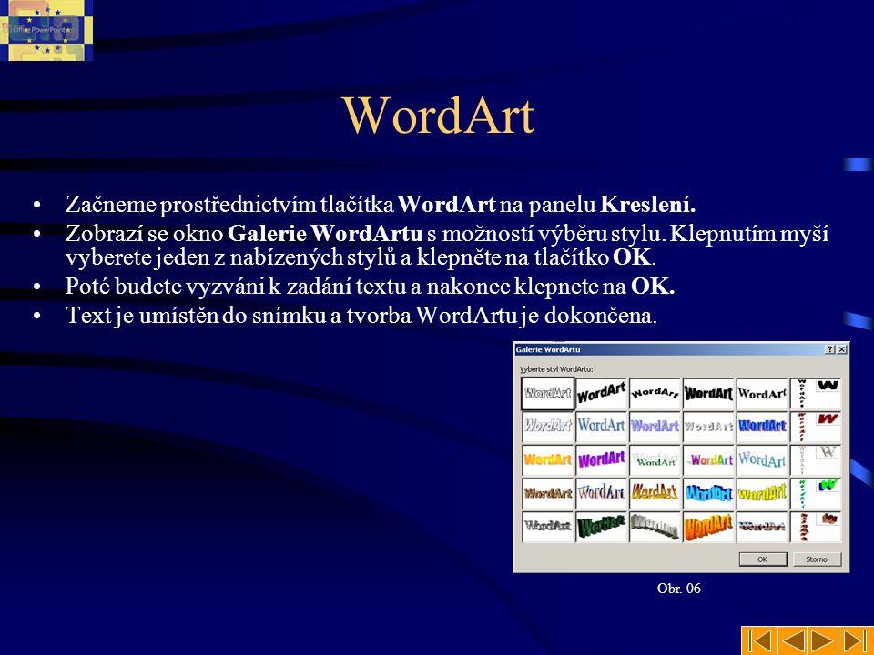 WordArt •Začneme prostřednictvím tlačítka WordArt na panelu Kreslení. •Zobrazí se okno Galerie WordArtu s možností výběru stylu. Klepnutím myší vybere