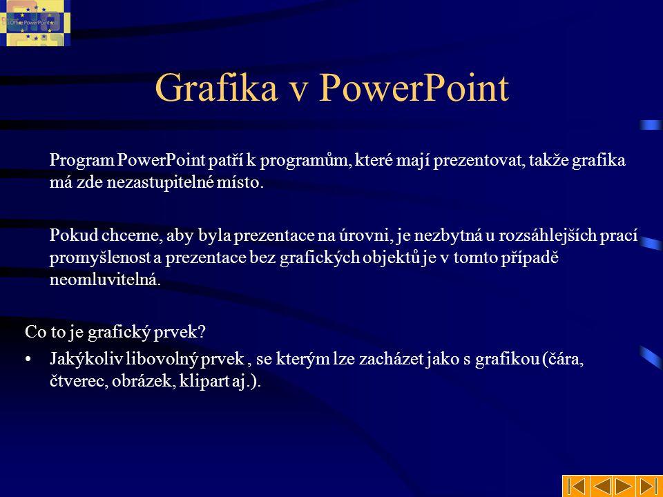 Grafika v PowerPoint Program PowerPoint patří k programům, které mají prezentovat, takže grafika má zde nezastupitelné místo. Pokud chceme, aby byla p