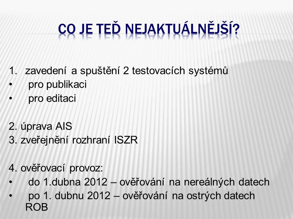 1.zavedení a spuštění 2 testovacích systémů • pro publikaci • pro editaci 2.