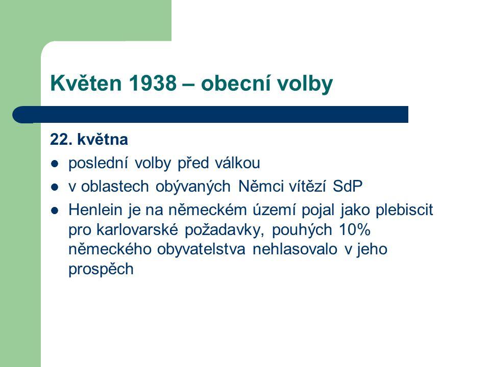 Květen 1938 – obecní volby 22. května  poslední volby před válkou  v oblastech obývaných Němci vítězí SdP  Henlein je na německém území pojal jako