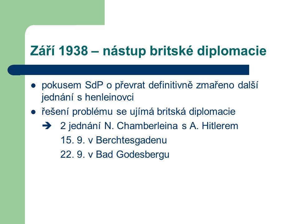 Září 1938 – nástup britské diplomacie  pokusem SdP o převrat definitivně zmařeno další jednání s henleinovci  řešení problému se ujímá britská diplo