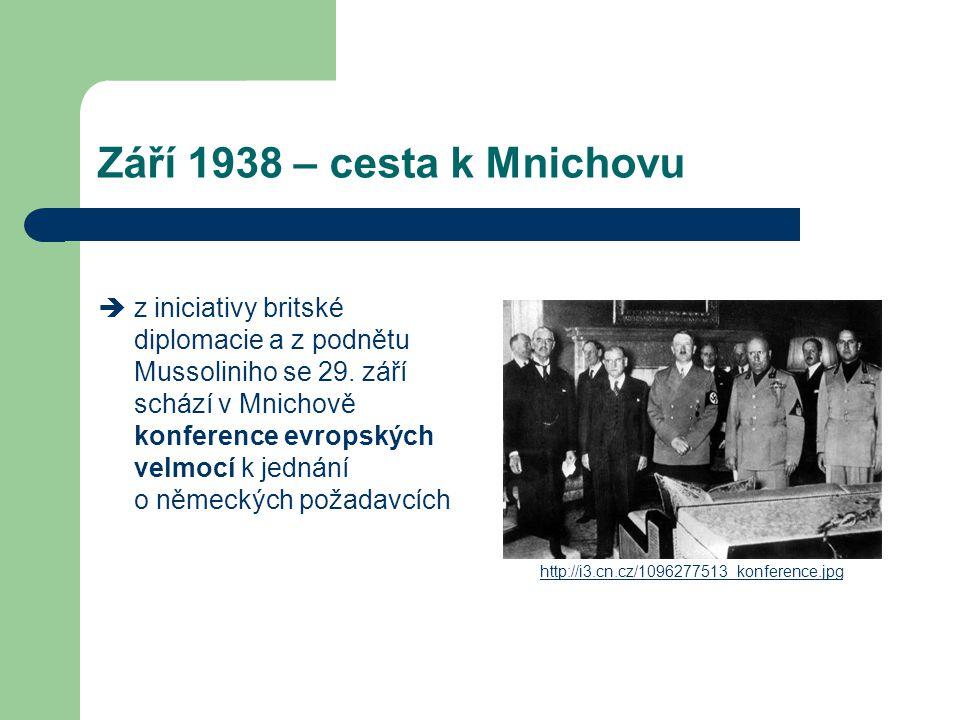 Září 1938 – cesta k Mnichovu  z iniciativy britské diplomacie a z podnětu Mussoliniho se 29. září schází v Mnichově konference evropských velmocí k j