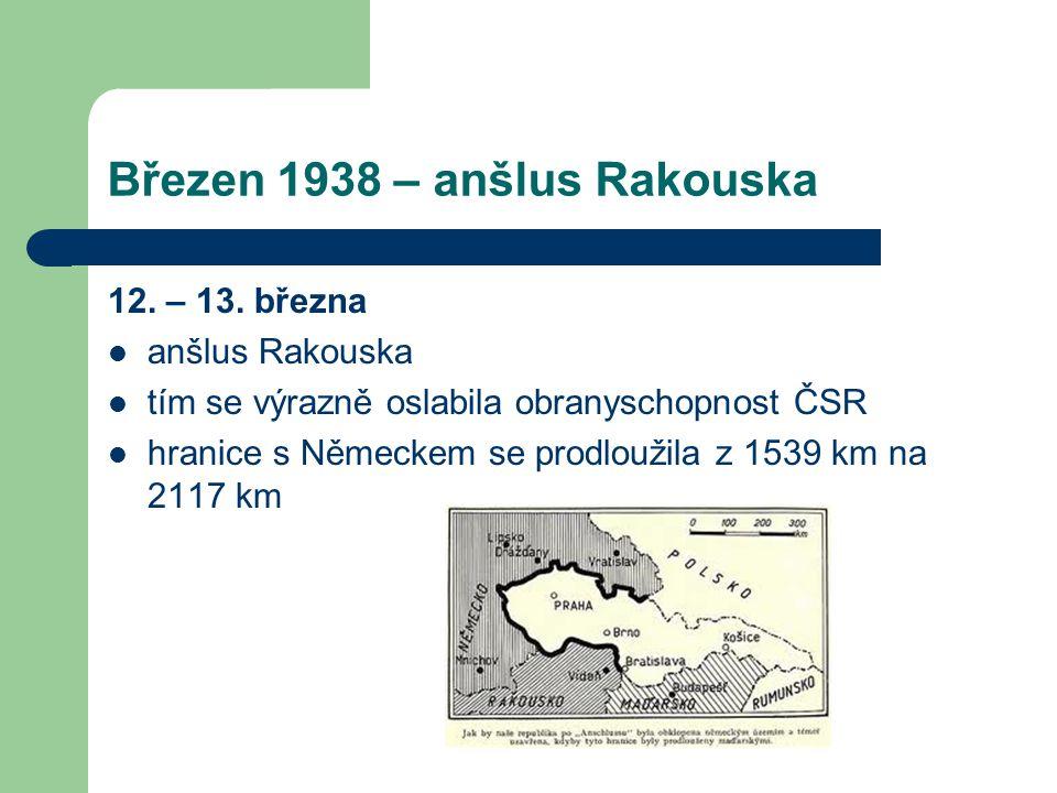 Březen 1938 – anšlus Rakouska 12. – 13. března  anšlus Rakouska  tím se výrazně oslabila obranyschopnost ČSR  hranice s Německem se prodloužila z 1
