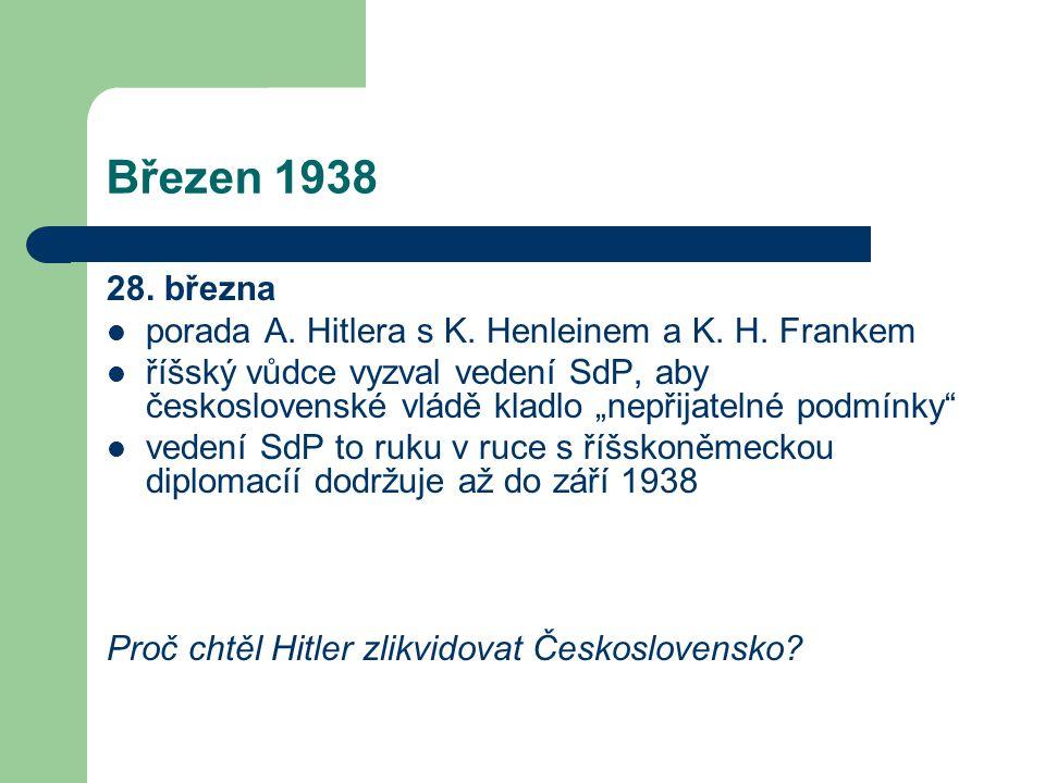 """Březen 1938 28. března  porada A. Hitlera s K. Henleinem a K. H. Frankem  říšský vůdce vyzval vedení SdP, aby československé vládě kladlo """"nepřijate"""