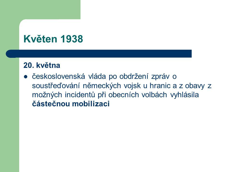 Květen 1938 20. května  československá vláda po obdržení zpráv o soustřeďování německých vojsk u hranic a z obavy z možných incidentů při obecních vo