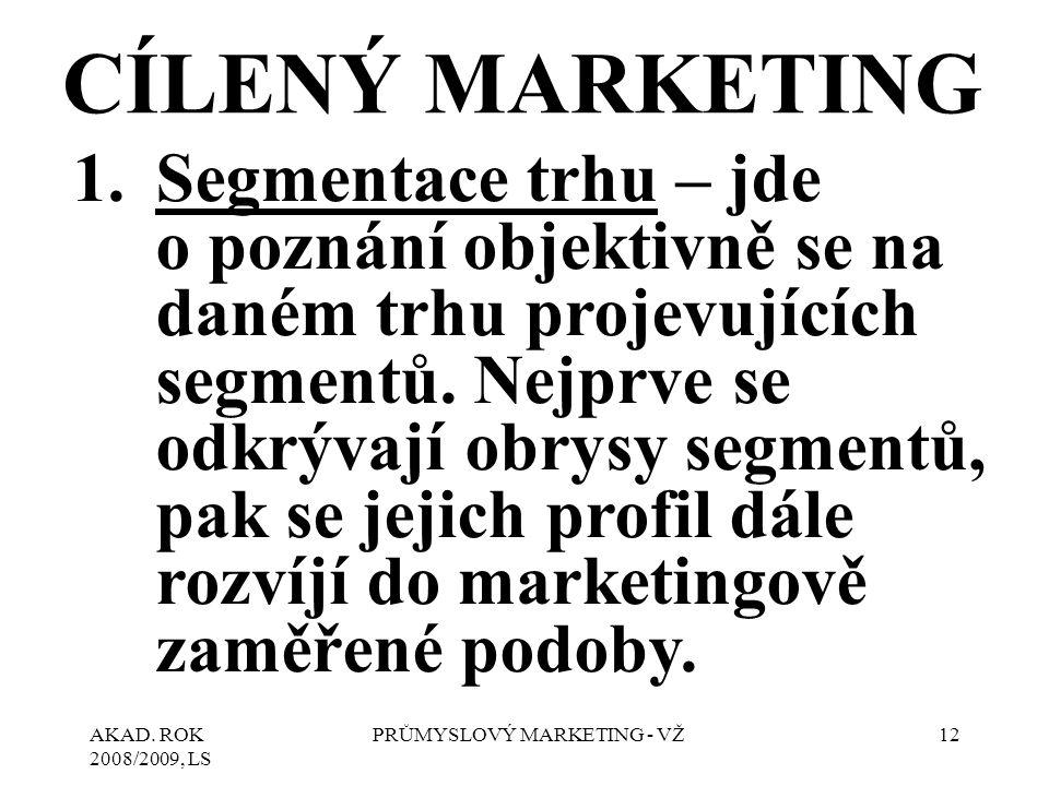 AKAD. ROK 2008/2009, LS PRŮMYSLOVÝ MARKETING - VŽ12 CÍLENÝ MARKETING 1.Segmentace trhu – jde o poznání objektivně se na daném trhu projevujících segme