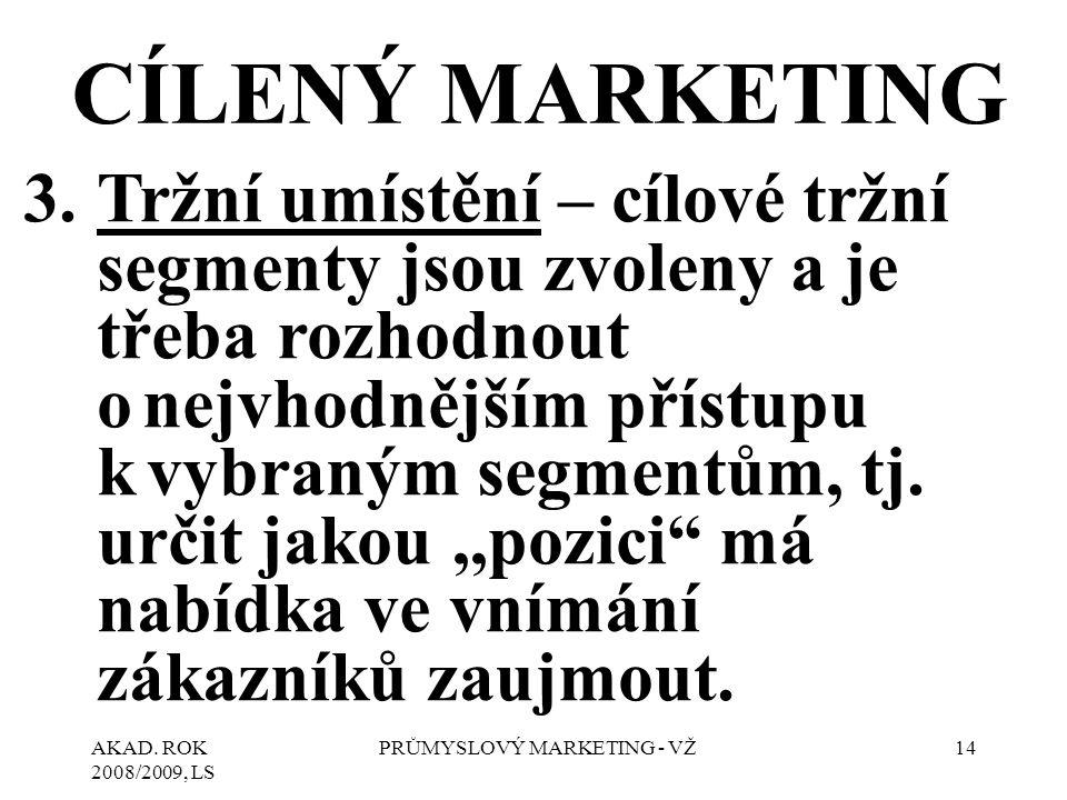 AKAD. ROK 2008/2009, LS PRŮMYSLOVÝ MARKETING - VŽ14 CÍLENÝ MARKETING 3.Tržní umístění – cílové tržní segmenty jsou zvoleny a je třeba rozhodnout o nej