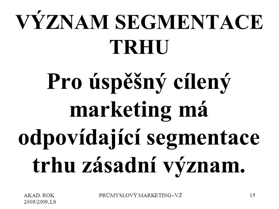AKAD. ROK 2008/2009, LS PRŮMYSLOVÝ MARKETING - VŽ15 VÝZNAM SEGMENTACE TRHU Pro úspěšný cílený marketing má odpovídající segmentace trhu zásadní význam