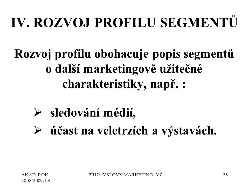 AKAD. ROK 2008/2009, LS PRŮMYSLOVÝ MARKETING - VŽ28 IV. ROZVOJ PROFILU SEGMENTŮ Rozvoj profilu obohacuje popis segmentů o další marketingově užitečné