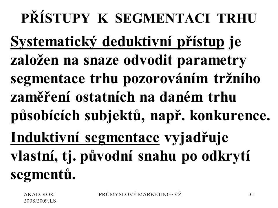 AKAD. ROK 2008/2009, LS PRŮMYSLOVÝ MARKETING - VŽ31 PŘÍSTUPY K SEGMENTACI TRHU Systematický deduktivní přístup je založen na snaze odvodit parametry s