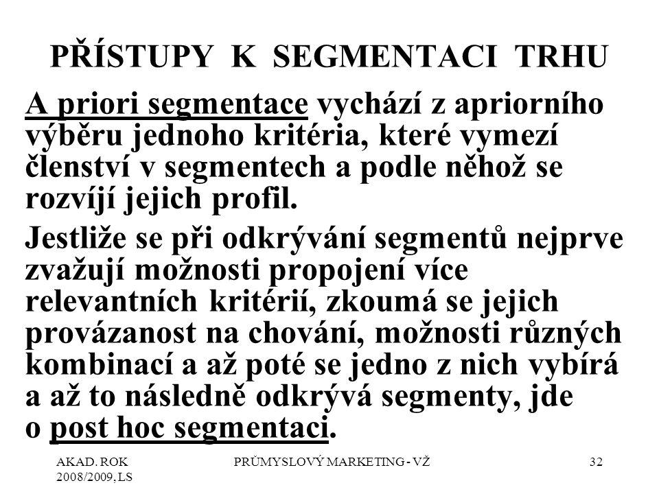 AKAD. ROK 2008/2009, LS PRŮMYSLOVÝ MARKETING - VŽ32 PŘÍSTUPY K SEGMENTACI TRHU A priori segmentace vychází z apriorního výběru jednoho kritéria, které