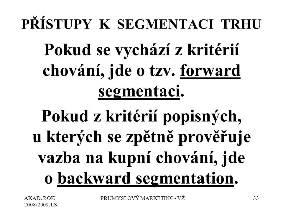 AKAD. ROK 2008/2009, LS PRŮMYSLOVÝ MARKETING - VŽ33 PŘÍSTUPY K SEGMENTACI TRHU Pokud se vychází z kritérií chování, jde o tzv. forward segmentaci. Pok