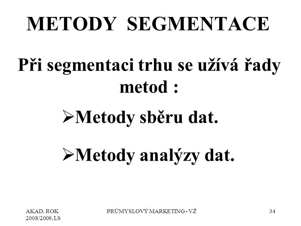AKAD. ROK 2008/2009, LS PRŮMYSLOVÝ MARKETING - VŽ34 METODY SEGMENTACE Při segmentaci trhu se užívá řady metod :  Metody sběru dat.  Metody analýzy d