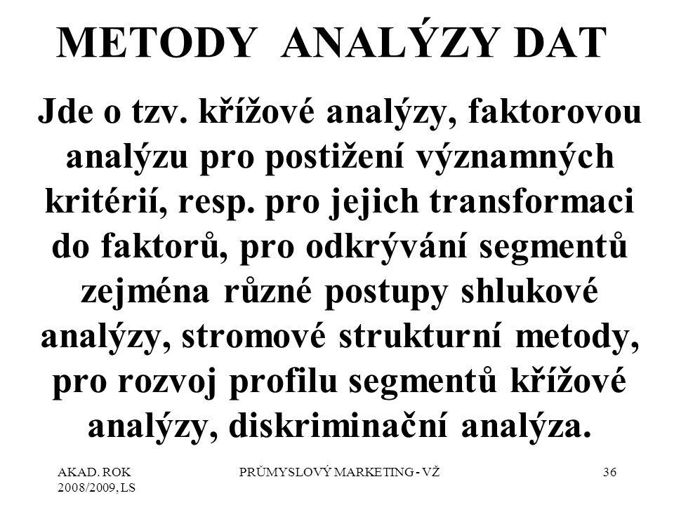 AKAD. ROK 2008/2009, LS PRŮMYSLOVÝ MARKETING - VŽ36 METODY ANALÝZY DAT Jde o tzv. křížové analýzy, faktorovou analýzu pro postižení významných kritéri