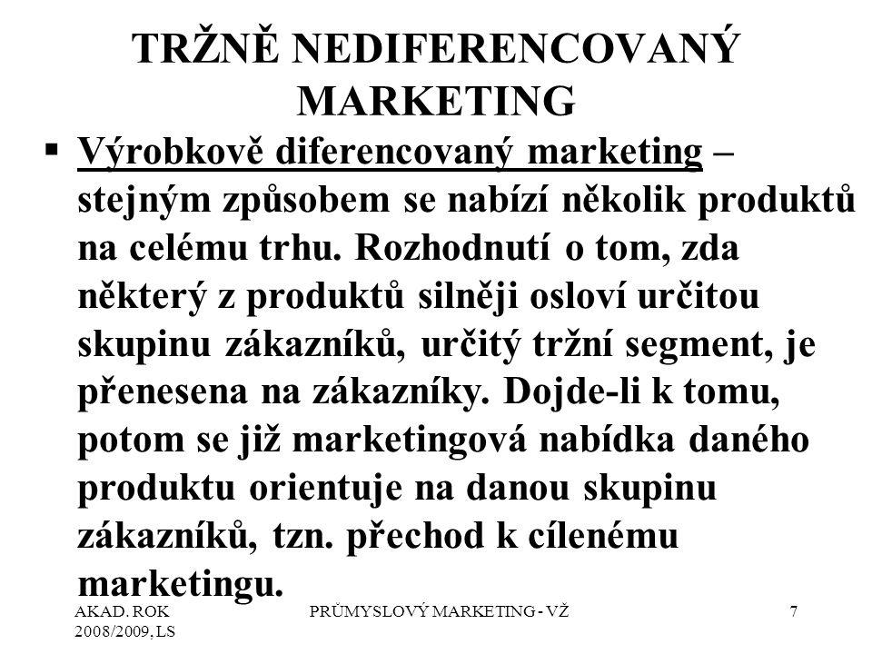 AKAD. ROK 2008/2009, LS PRŮMYSLOVÝ MARKETING - VŽ7 TRŽNĚ NEDIFERENCOVANÝ MARKETING  Výrobkově diferencovaný marketing – stejným způsobem se nabízí ně