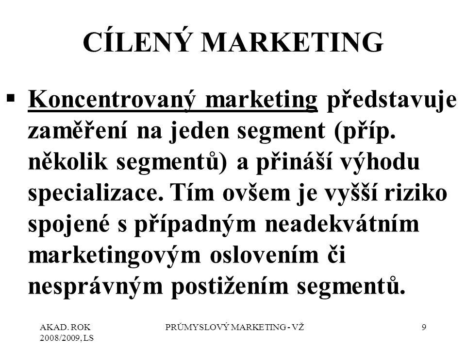 AKAD. ROK 2008/2009, LS PRŮMYSLOVÝ MARKETING - VŽ9 CÍLENÝ MARKETING  Koncentrovaný marketing představuje zaměření na jeden segment (příp. několik seg