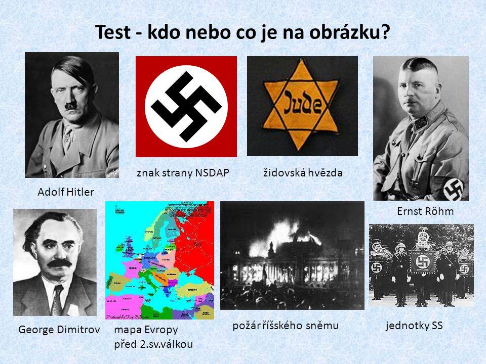 Test - kdo nebo co je na obrázku? Adolf Hitler znak strany NSDAPžidovská hvězda Ernst Röhm George Dimitrovmapa Evropy před 2.sv.válkou požár říšského