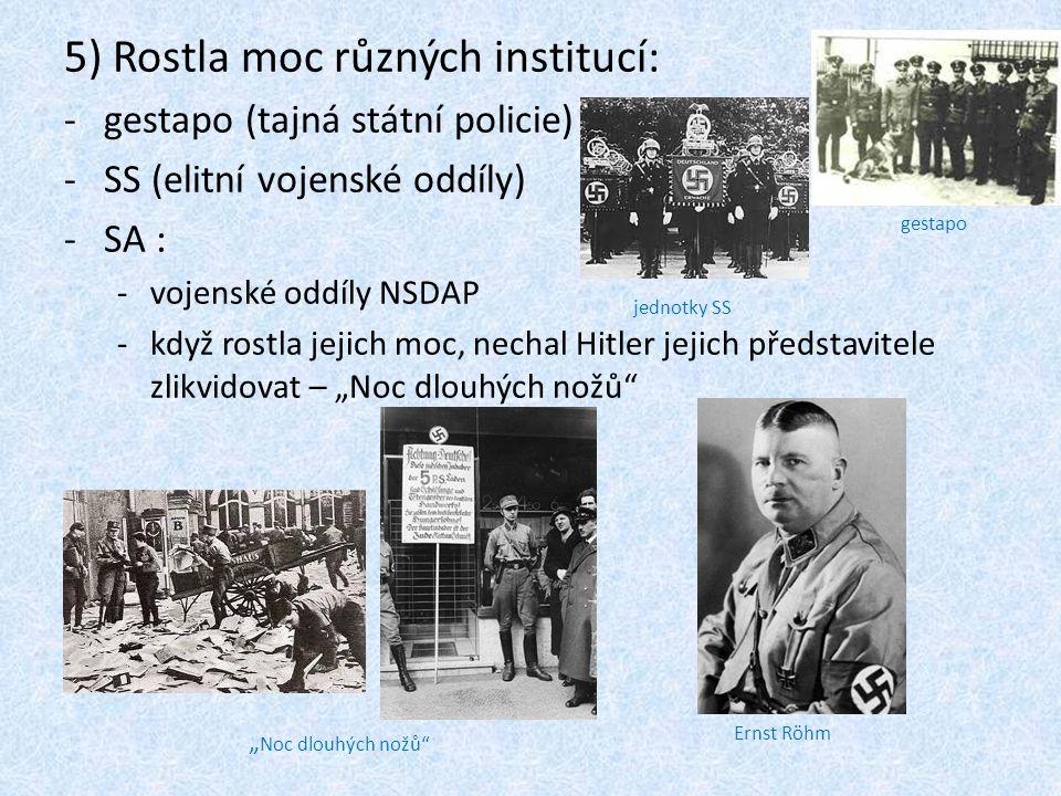 5) Rostla moc různých institucí: -gestapo (tajná státní policie) -SS (elitní vojenské oddíly) -SA : -vojenské oddíly NSDAP -když rostla jejich moc, ne