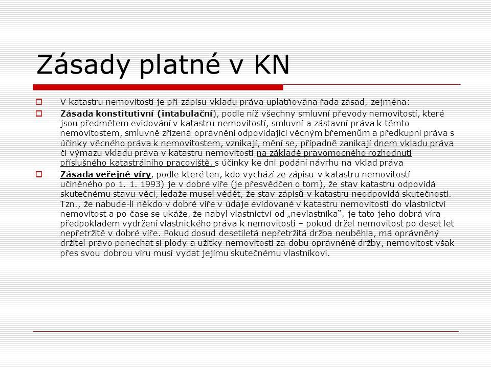 Zásady platné v KN  V katastru nemovitostí je při zápisu vkladu práva uplatňována řada zásad, zejména:  Zásada konstitutivní (intabulační), podle ní