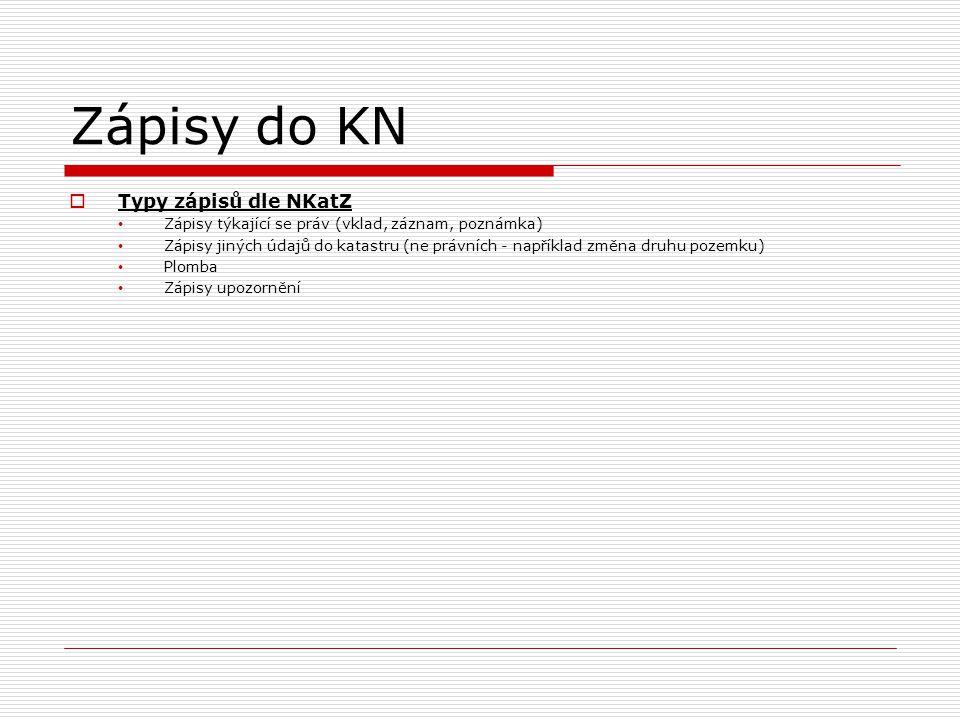 Zápisy do KN  Typy zápisů dle NKatZ • Zápisy týkající se práv (vklad, záznam, poznámka) • Zápisy jiných údajů do katastru (ne právních - například zm