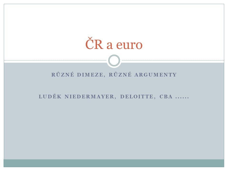 RŮZNÉ DIMEZE, RŮZNÉ ARGUMENTY LUDĚK NIEDERMAYER, DELOITTE, CBA...... ČR a euro