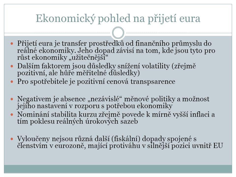 Ekonomický pohled na přijetí eura  Přijetí eura je transfer prostředků od finančního průmyslu do reálné ekonomiky.