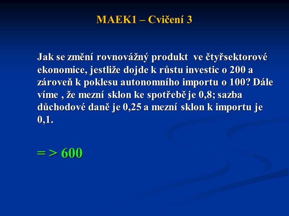 MAEK1 – Cvičení 3 Jak se změní rovnovážný produkt ve čtyřsektorové ekonomice, jestliže dojde k růstu investic o 200 a zároveň k poklesu autonomního im