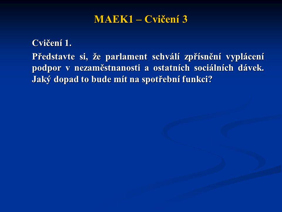 MAEK1 – Cvičení 3 Cvičení 1. Představte si, že parlament schválí zpřísnění vyplácení podpor v nezaměstnanosti a ostatních sociálních dávek. Jaký dopad
