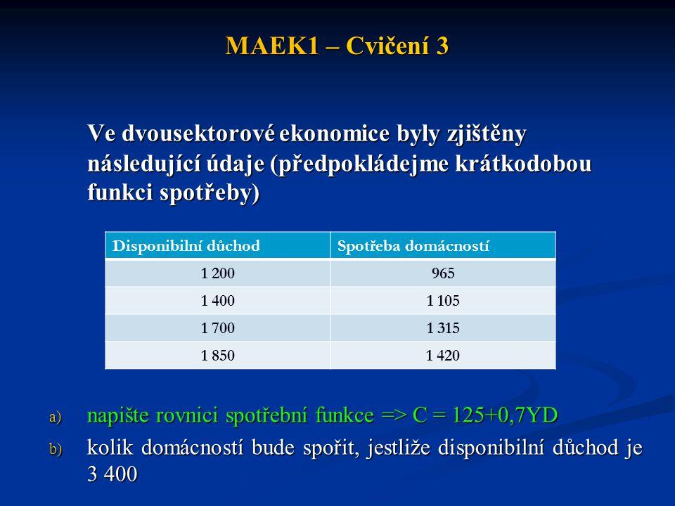 MAEK1 – Cvičení 3 Ve dvousektorové ekonomice byly zjištěny následující údaje (předpokládejme krátkodobou funkci spotřeby) a) napište rovnici spotřební