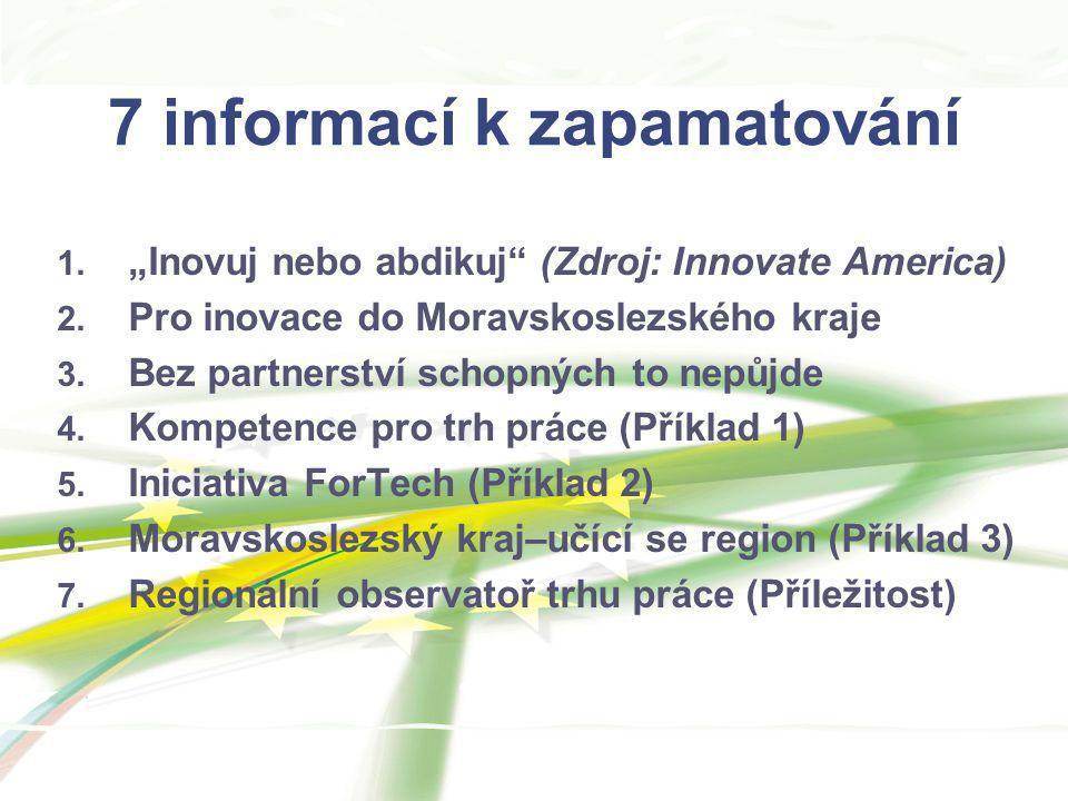 """7 informací k zapamatování 1. """"Inovuj nebo abdikuj"""" (Zdroj: Innovate America) 2. Pro inovace do Moravskoslezského kraje 3. Bez partnerství schopných t"""