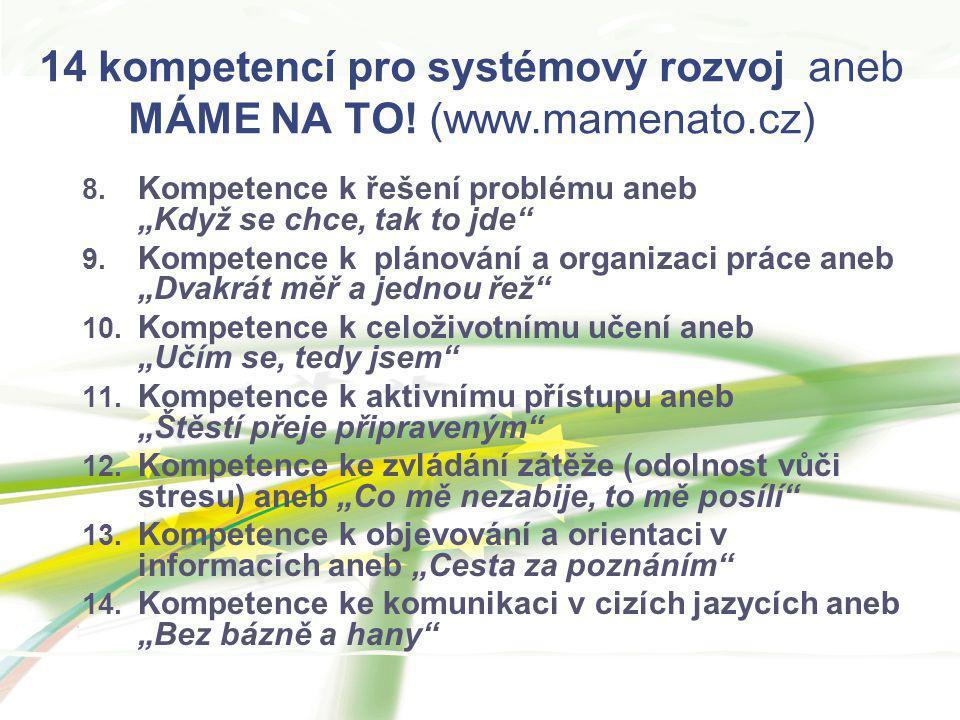 """14 kompetencí pro systémový rozvoj aneb MÁME NA TO! (www.mamenato.cz) 8. Kompetence k řešení problému aneb """"Když se chce, tak to jde"""" 9. Kompetence k"""
