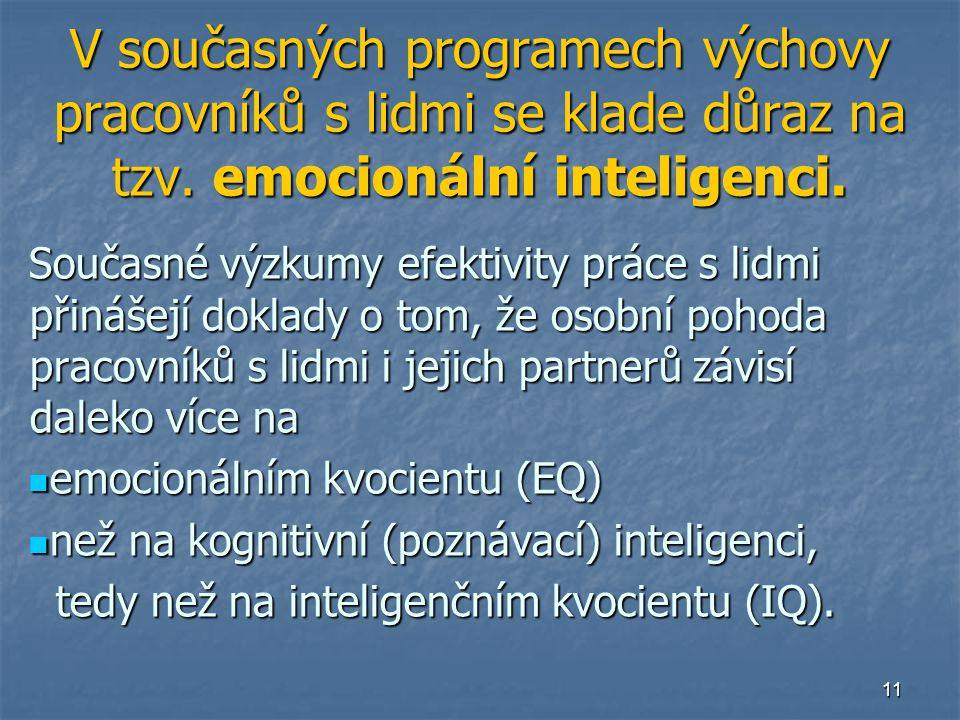 11 V současných programech výchovy pracovníků s lidmi se klade důraz na tzv. emocionální inteligenci. Současné výzkumy efektivity práce s lidmi přináš