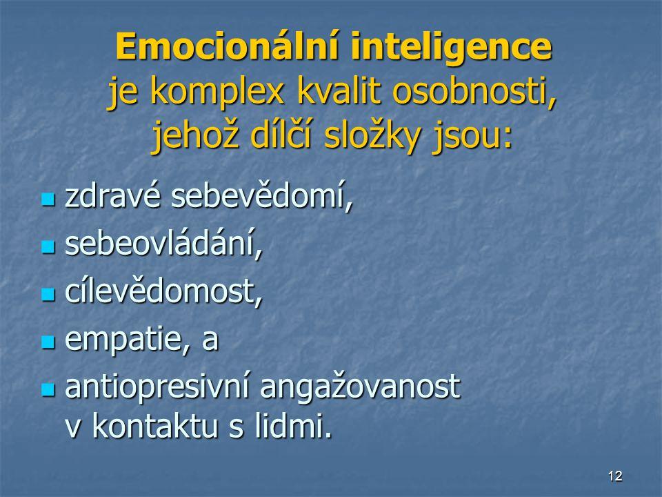 12 Emocionální inteligence je komplex kvalit osobnosti, jehož dílčí složky jsou:  zdravé sebevědomí,  sebeovládání,  cílevědomost,  empatie, a  antiopresivní angažovanost v kontaktu s lidmi.