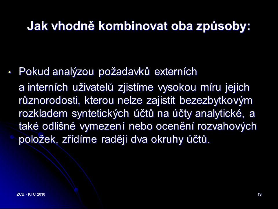 ZCU - KFU 201019 Jak vhodně kombinovat oba způsoby: • Pokud analýzou požadavků externích a interních uživatelů zjistíme vysokou míru jejich různorodos