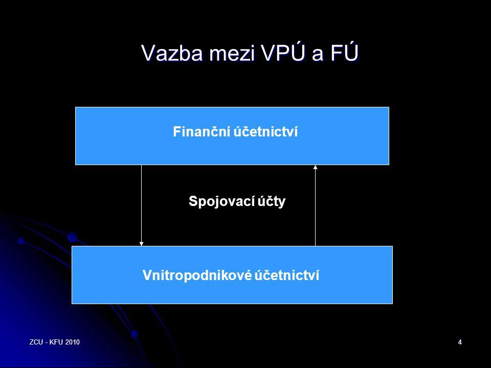 ZCU - KFU 20104 Vazba mezi VPÚ a FÚ Vnitropodnikové účetnictví Finanční účetnictví Spojovací účty