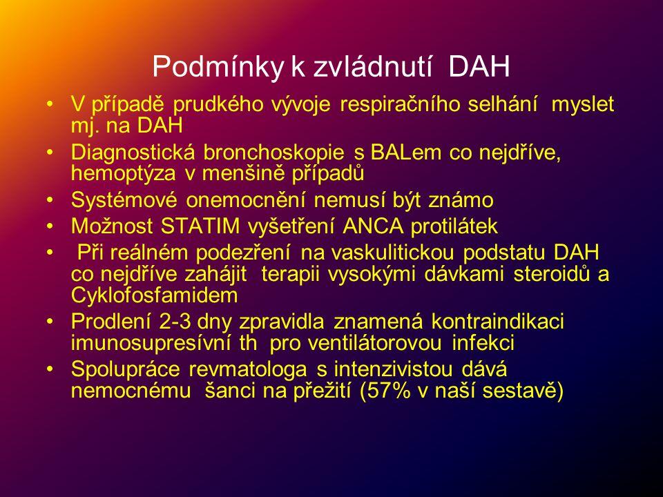 Podmínky k zvládnutí DAH •V případě prudkého vývoje respiračního selhání myslet mj. na DAH •Diagnostická bronchoskopie s BALem co nejdříve, hemoptýza