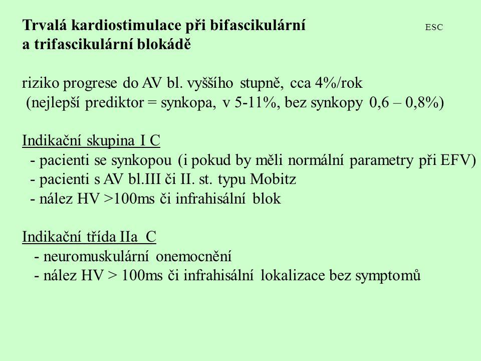 Trvalá kardiostimulace při bifascikulární ESC a trifascikulární blokádě riziko progrese do AV bl. vyššího stupně, cca 4%/rok (nejlepší prediktor = syn