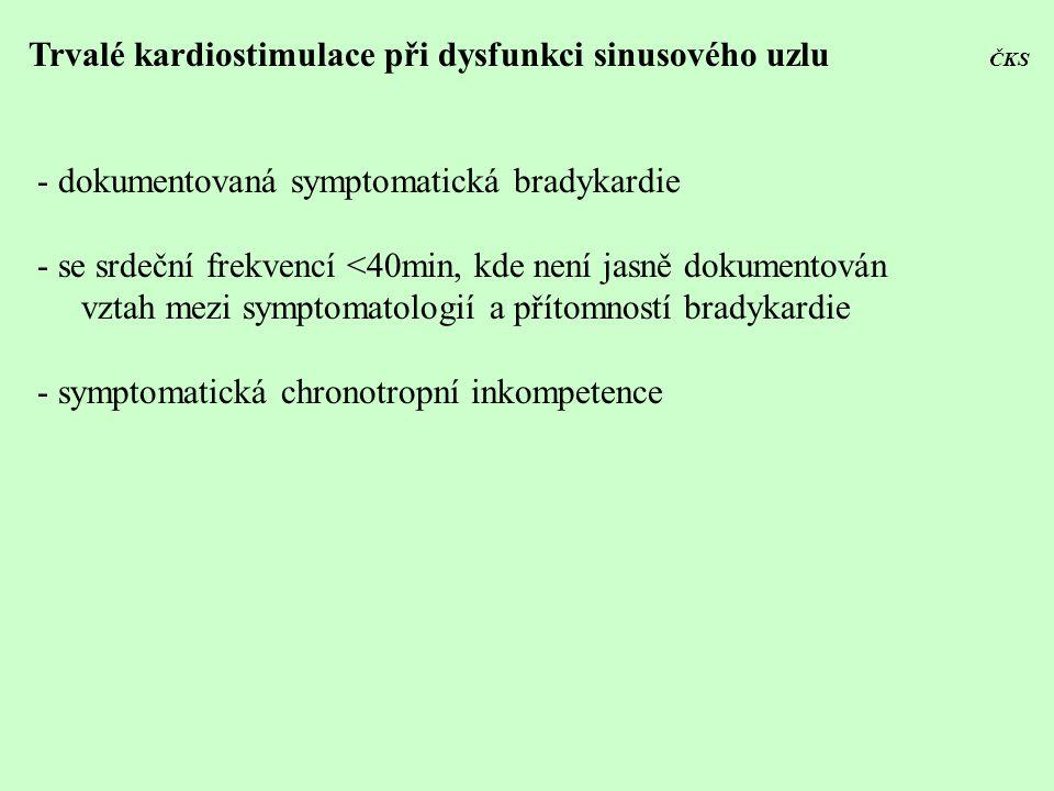 Trvalé kardiostimulace při dysfunkci sinusového uzlu ČKS - dokumentovaná symptomatická bradykardie - se srdeční frekvencí <40min, kde není jasně dokum