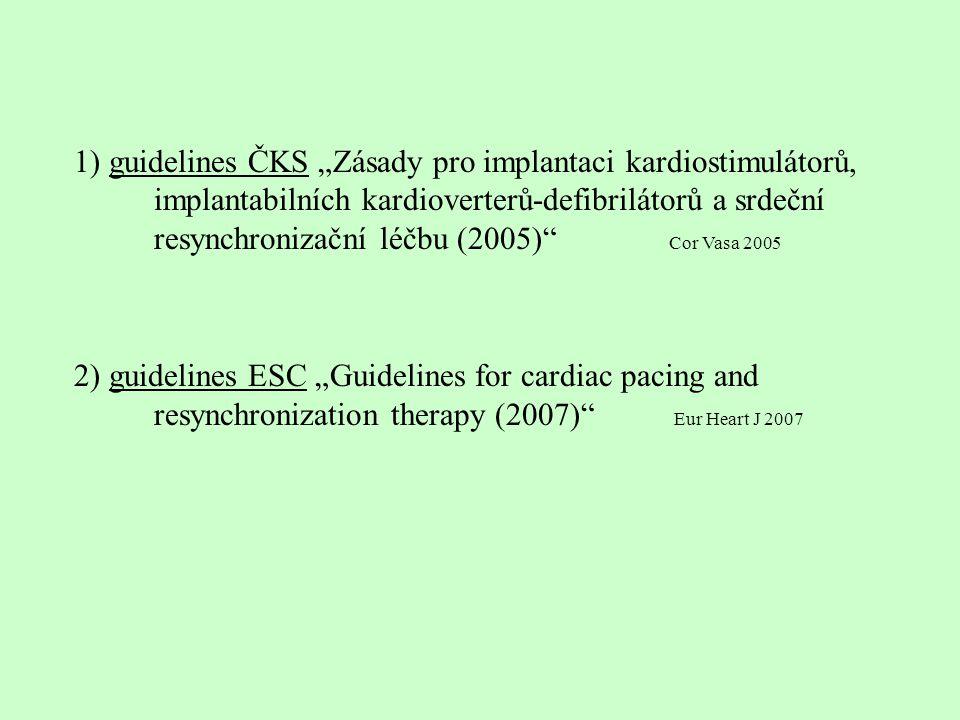 guidelines ČKS - přísnější, strohé guidelines ESC - dodržující klasická kritéria síly indikace I – III síly evidence A – C většina indikací evidence C, málo randomizovaných studií