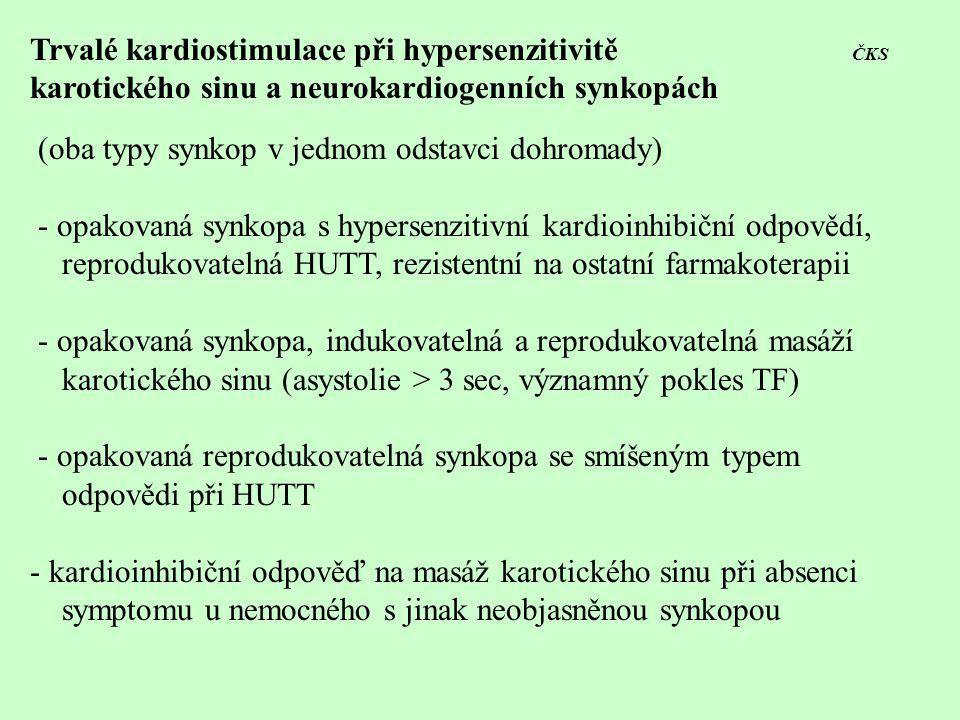 Trvalé kardiostimulace při hypersenzitivitě ČKS karotického sinu a neurokardiogenních synkopách (oba typy synkop v jednom odstavci dohromady) - opakov