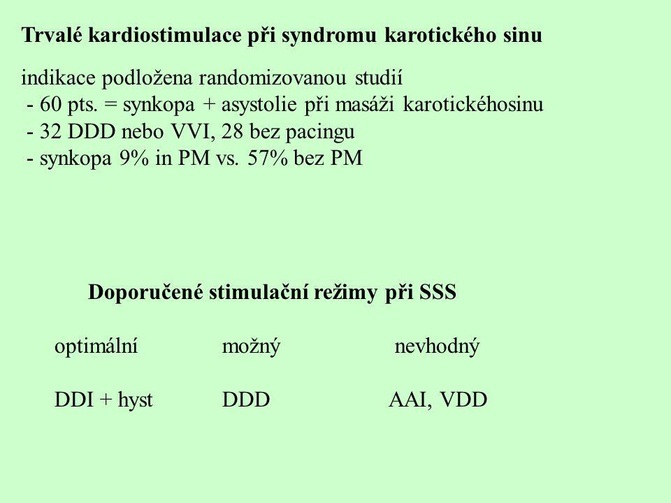 Trvalé kardiostimulace při syndromu karotického sinu indikace podložena randomizovanou studií - 60 pts. = synkopa + asystolie při masáži karotickéhosi