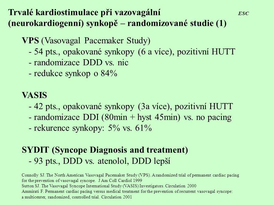 Trvalé kardiostimulace při vazovagální ESC (neurokardiogenní) synkopě – randomizované studie (1) VPS (Vasovagal Pacemaker Study) - 54 pts., opakované